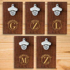 Personalized Wood Plank Wall Bottle Opener - Set of 5-Circle-