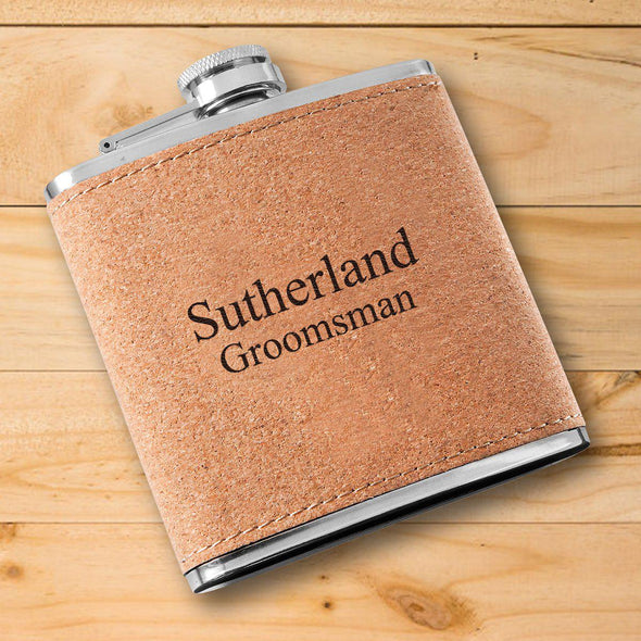 Personalized Flask - Cork - Groomsmen-2Lines-