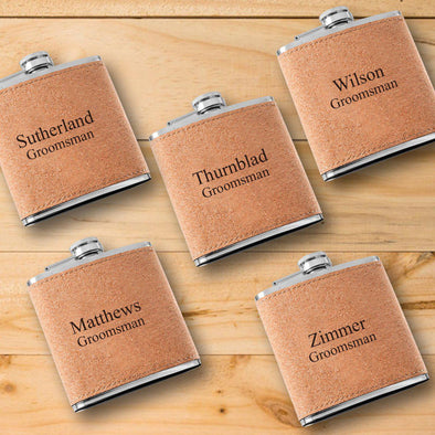 Set of 5 Personalized Cork Flasks