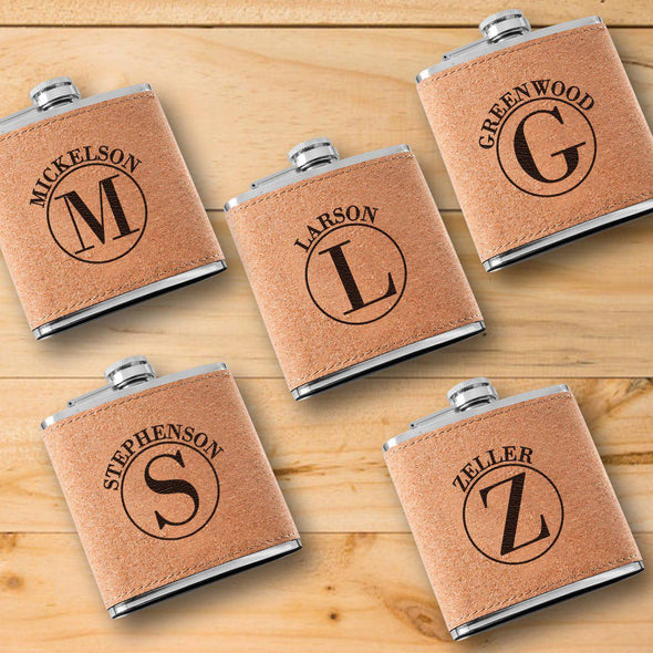 Personalized Cork Flasks - Set of 5