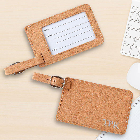 Personalized Stamped Cork Luggage Tag-Travel Gifts-JDS-Silver-