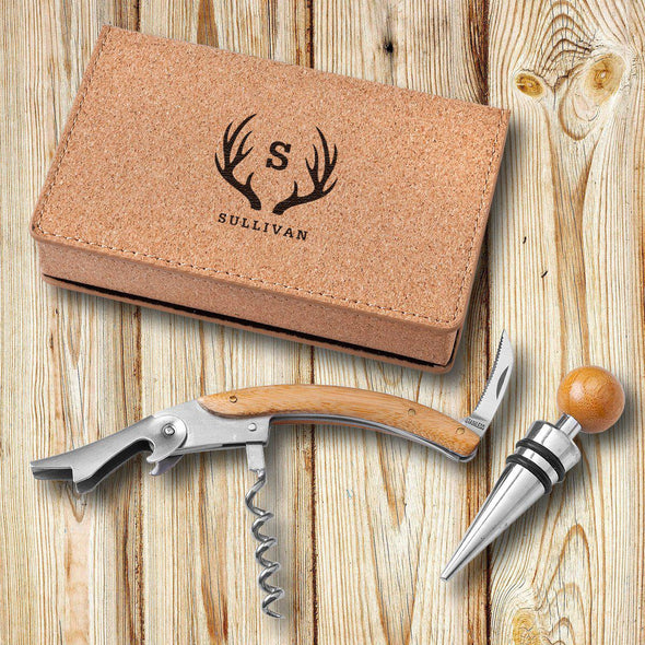 Personalized Cork Wine Opener Tool Set-Antlers-