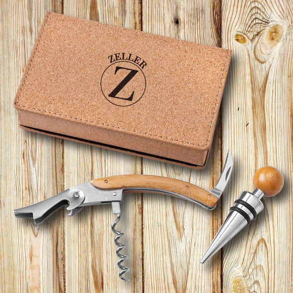 Personalized Cork Wine Opener Tool Set-Circle-