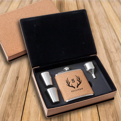 Personalized Cork Flask Gift Set - Shot Set - Groomsmen-Antlers-