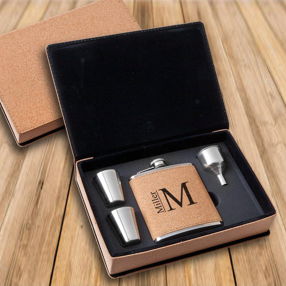 Personalized Cork Flask Gift Set - Shot Set - Groomsmen-Modern-