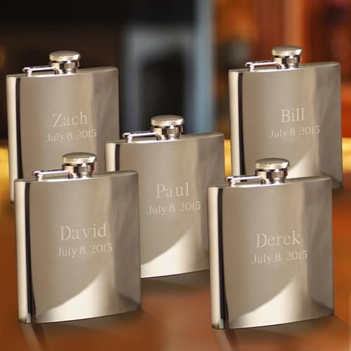 Set of 5 Engraved Stainless Steel High Polished 7 oz. Flask