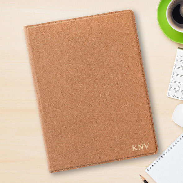 Monogram Portfolio with Notepad - Stamped - Cork-Gold-