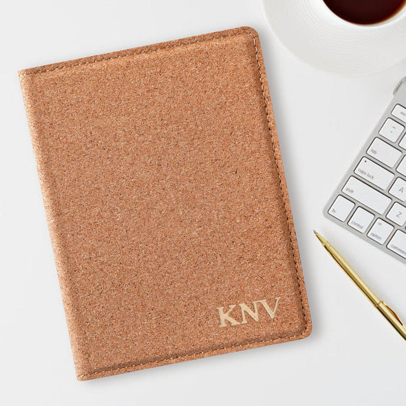 Monogram Passport Holder - Cork - Personalized-Gold-