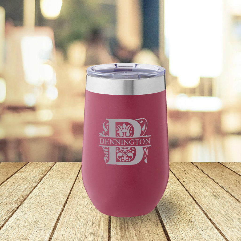 Personalized Burgundy 16 oz. Travel Tumbler