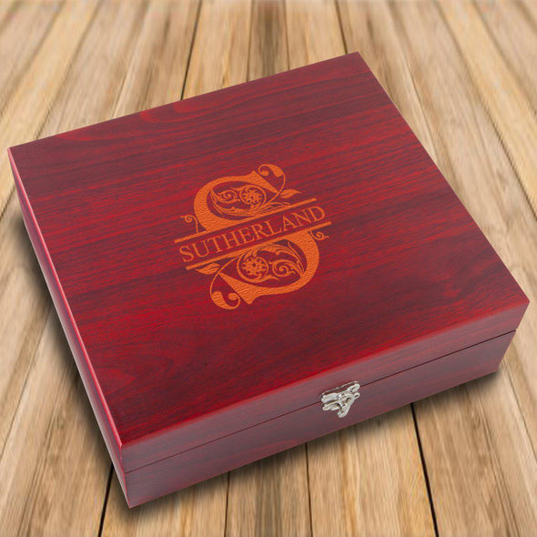 Personalized Rosewood Flask Set with Cards and Dice