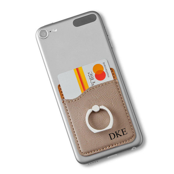 Leather Personalized Phone Wallet with Holder - Gray