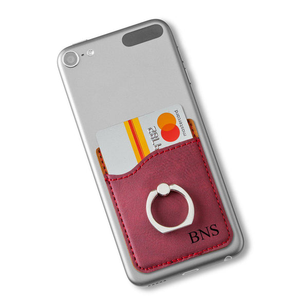 Leatherette Personalized Phone Wallet with Holder - Burgundy