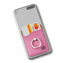 Leatherette Personalized Phone Wallet with Holder - Pink