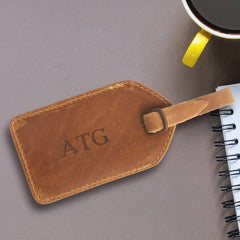 Personalized Luggage Tag - Leather - Double Stitched