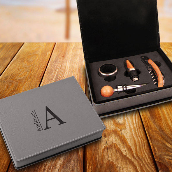 Personalized Wine Tool Gift Set - 4 Piece Leatherette Gray