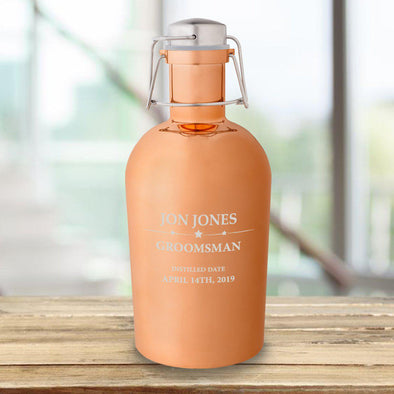 Personalized Groomsmen Copper Growler - 64 oz.