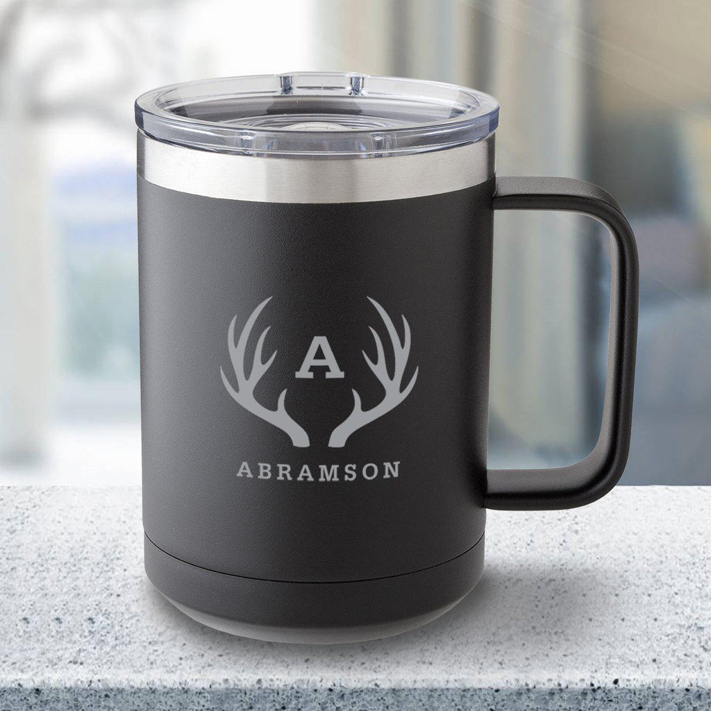 Personalized 15 oz Black Travel Tumbler