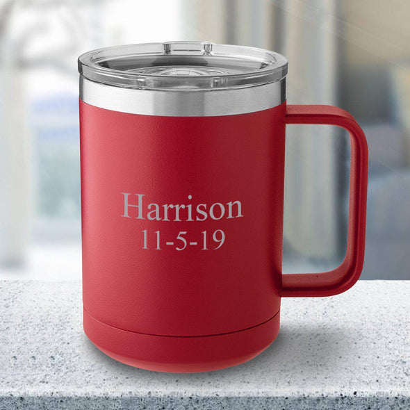 Personalized 15 oz Red Travel Tumbler