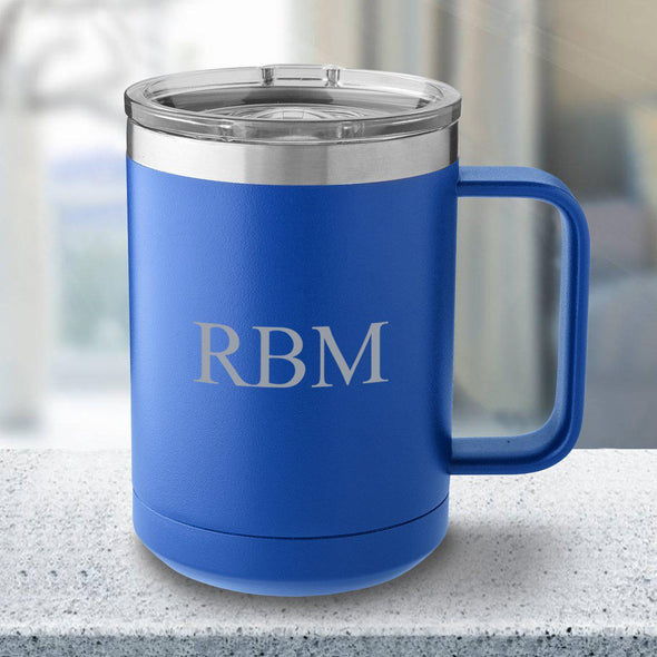 Personalized 15 oz Royal Blue Travel Tumbler