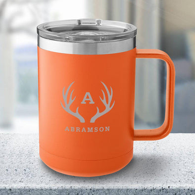 Personalized 15 oz Orange Travel Tumbler