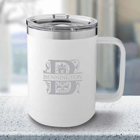 Personalized 15 oz White Travel Tumbler