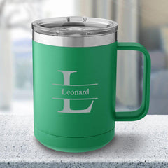 Personalized 15 oz Green Travel Tumbler