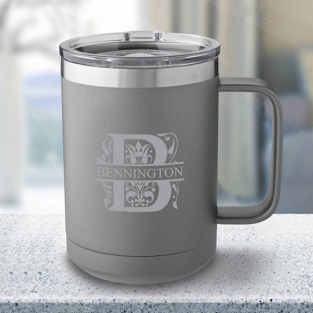Personalized 15 oz Gray Travel Tumbler