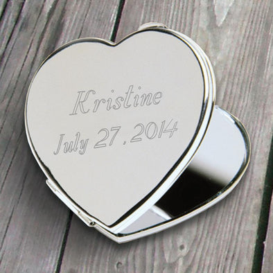 Personalized Compact Mirror - Heart - Silver Plated - Gifts for Her-