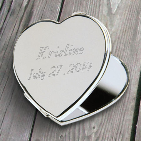 Personalized Compact Mirror - Heart - Silver Plated - Gifts for Her-Groomsmen Gifts