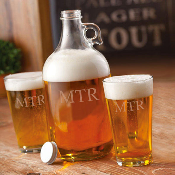 Personalized 64oz. Glass Growler with Set of 2 Pub Glasses
