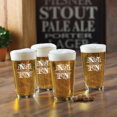 Set of 4 Personalized Pub Glasses - 16 oz.