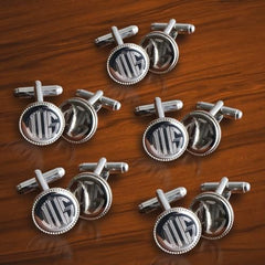Personalized Set of 5 Silver Round Beaded Cufflinks-Groomsmen Gifts