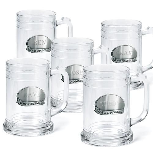 Groomsmen Pewter Medallion Beer Mugs Set of 5 - 16 oz.