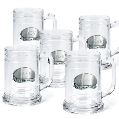 Groomsmen Pewter Medallion Beer Mugs Set of 5 - 16 oz.-Barware-JDS-