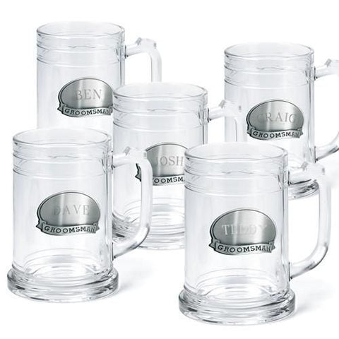Set of Five Personalized Groomsmen Beer Mugs-Groomsmen Gifts