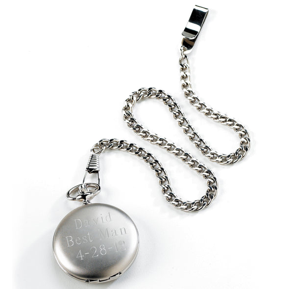Personalized Brushed Groomsmen Pocket Watch-