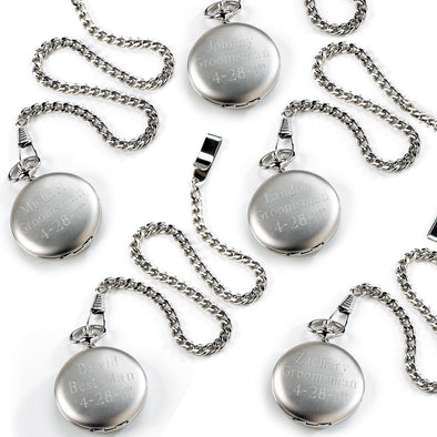 Set of 5 Personalized Brushed Groomsmen Pocket Watch-Default-