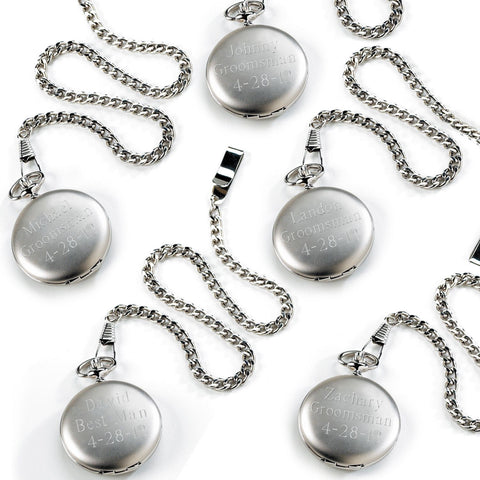 Set of 5 Personalized Brushed Groomsmen Pocket Watches
