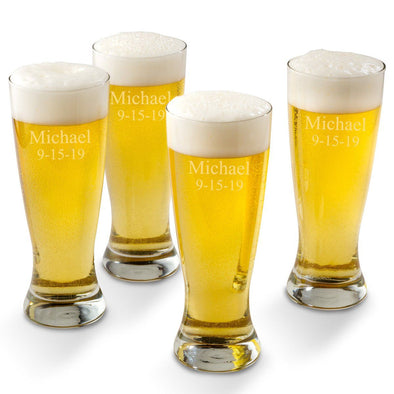 Personalized Grand Pilsner Glass Set of 4-2Lines-