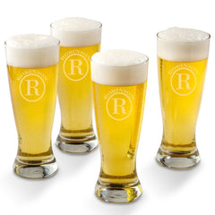 Personalized Grand Pilsner Glass Set of 4-Circle-