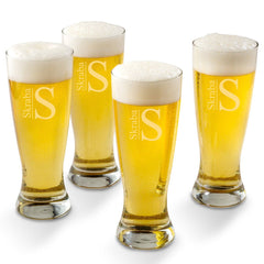 Personalized Grand Pilsner Glass Set of 4-Modern-