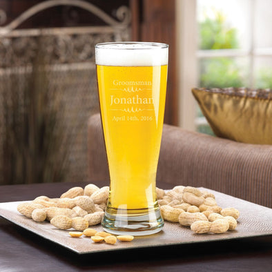 Personalized Beer Glasses - Pilsner - Glass - Groomsmen - 20 oz.-Modern-