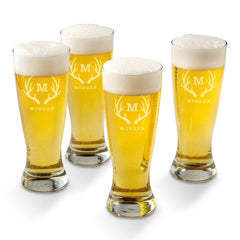 Personalized Grand Pilsner Glass Set of 4-Antlers-