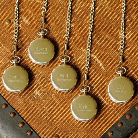 Set of 5 Personalized High Polish Groomsmen Pocket Watch-Groomsmen Gifts