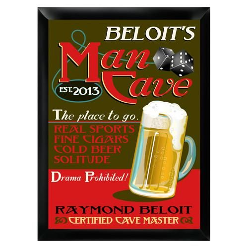 Personalized Mancave Traditional Bar Sign