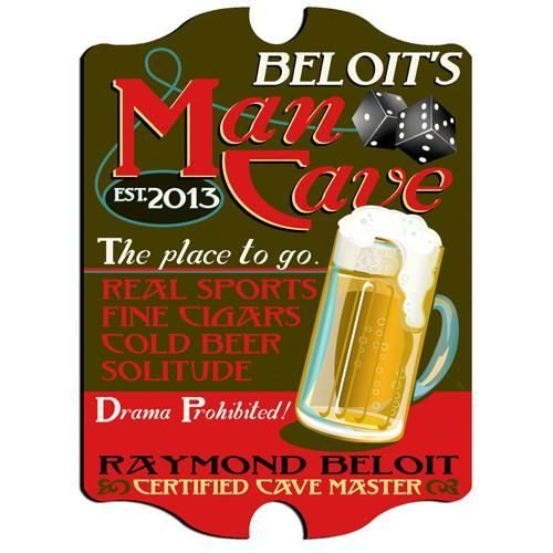 Personalized Vintage Mancave Bar Sign