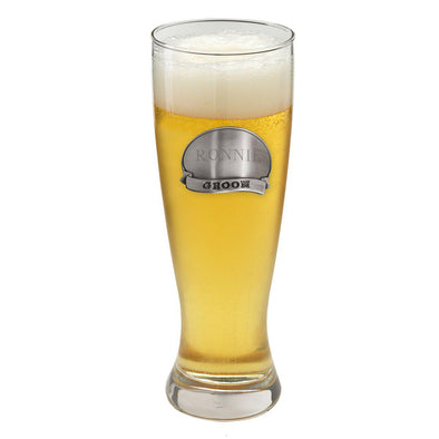 Personalized Beer Glasses - Pilsner - Pewter Medallion - 20 oz.-Groom-