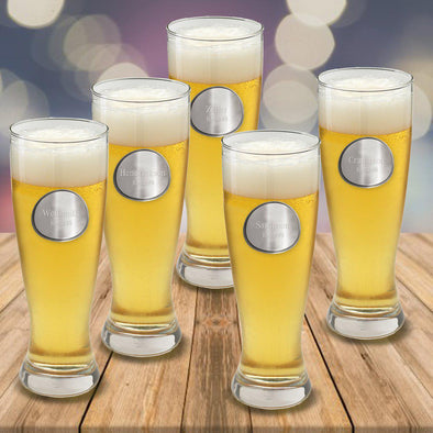 Groomsmen Set of 5 Personalized Beer Glasses - Pilsner - Pewter Medallion - 20 oz.