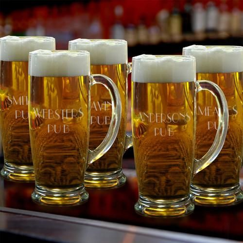 Personalized Groomsmen Glass Beer Mugs Set of 5 - 18 oz.