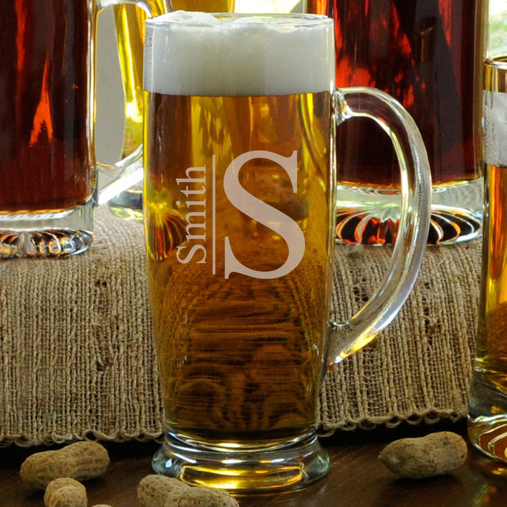 Personalized Beer Mugs - Glass - Slim - Groomsmen - 18 oz.